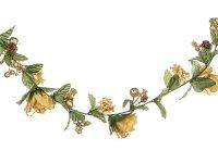 Гирлянда розы/гортензии/ягоды золото длина=163 см....
