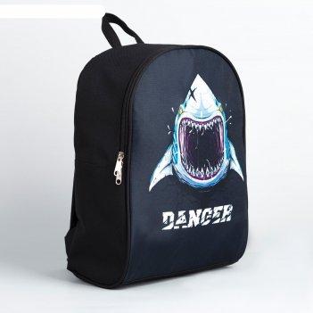 Рюкзак молодёжный 27х14х38, danger, акула, чёрный