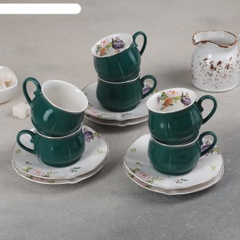 Сервиз кофейный 12 пред сирена 6 чашка 8х6,5х5 см, 100 мл, 6 блюдец 12 см,