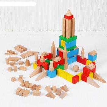 Конструктор цветной, 100 деталей, в деревянной коробке