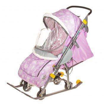 Санки-коляска наши детки, цвет: снежинки розовый