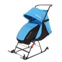 Санки-коляска damibaby с 4 колёсиками, цвет голубой