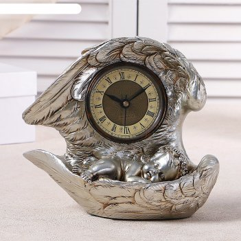 Часы настольные спящий ангел, цвет серебро, h=25.5 см