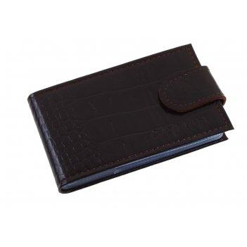 Кредитница, 1 ряд, 18 карманов, коричневый кайман