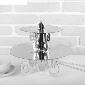 Подставка-подсвечник для кексов, цвет серебро