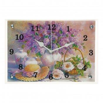 Часы настенные, серия: цветы, сирень в вазе, 25х35  см, микс