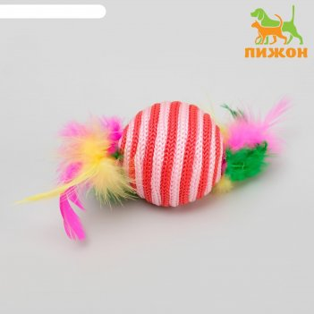 Шар-погремушка с перьями двухцветный, 4,5 см, микс цветов
