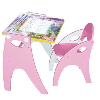 Стол-парта-мольберт (трансформер) цвет розовый; аппликация зима-лето