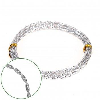 Проволока декоративная «спираль» 2 мм х 2 м, 15 г, серебряная