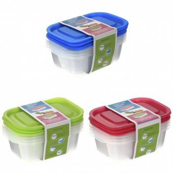 Контейнер для пищевых продуктов, набор из 3-х шт, l18 w12 h5,5 см, 3в.
