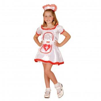 Карнавальный костюм медсестричка, 4 пр: платье, пояс, подъюбник, ободок, р