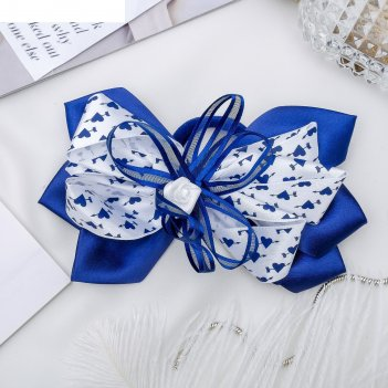 Резинка для волос бант школьница 13 см, сердечки и роза, бело-синий