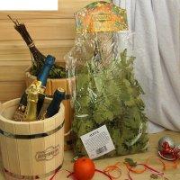 Веник для бани экстра из кавказского дуба с мятой добропаровъ, новогодняя