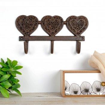 Крючки декоративные металл три сердца 15х27,5х4,5 см