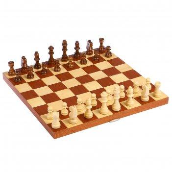 Шахматы деревянные, клетка 3.5 см, (фигуры от 2.5 см до 5.5 см), поле без