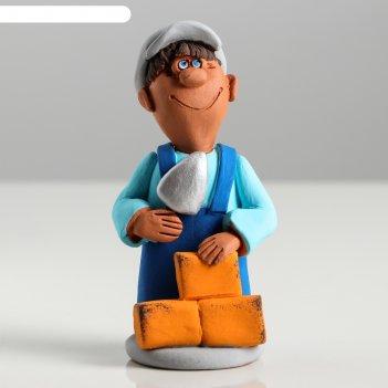 Сувенир-статуэтка малая строитель, 10 см, микс