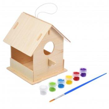 Кормушка для птиц, 12,5 x 12,5 x 16 см, с красками и кисточкой