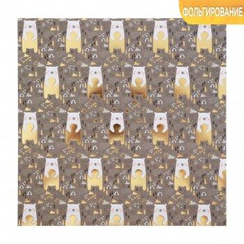 Бумага для скрапбукинга с фольгированием «медвежата», 20 x 20 см, 250 г/м