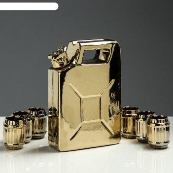 Штоф с рюмками канистра набор 7 предметов, золото 1 л