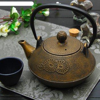 Чайник с ситом 800 мл цветы. золото, цвет черный