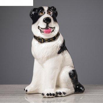 Статуэтка  собака алабай глянец бело-черный