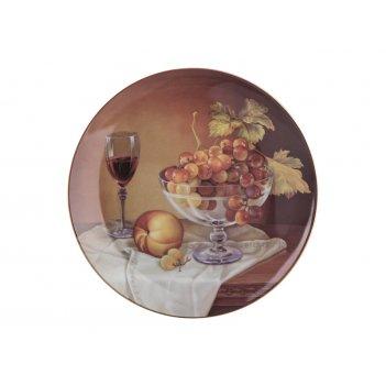 Тарелка настенная декоративная виноград и персик...