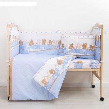 Комплект в кроватку (6 предметов) спящие зверушки, бязь, хл100%