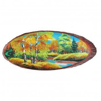 Картина осень на срезе дерева, каменная крошка