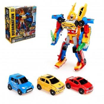 Набор роботов супербот, собирается из трёх трансформеров
