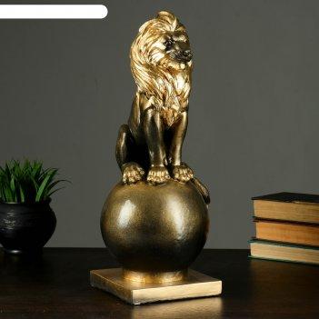 Копилка  лев на шаре малый черное золото 42х15х15см