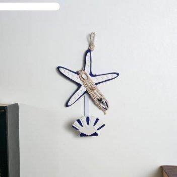 Крючок декоративный дерево морская звезда и ракушка 20х14х6 см