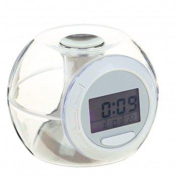 Часы-будильник luazon lb-06, 7 цветов дисплея, 6 мелодий, прозрачный
