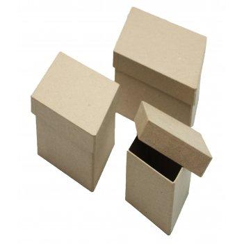 Набор из 3-х коробочек из папье-маше в форме кристалла, макс. 23 х 14 х 9,