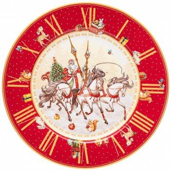 Тарелка обеденная lefard часы 26см красная (кор=18шт.)