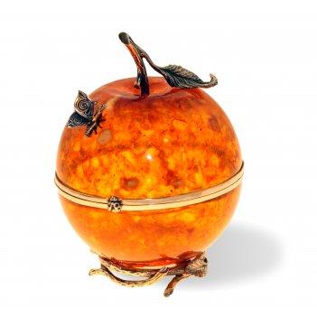 Шкатулка райское яблоко из янтаря
