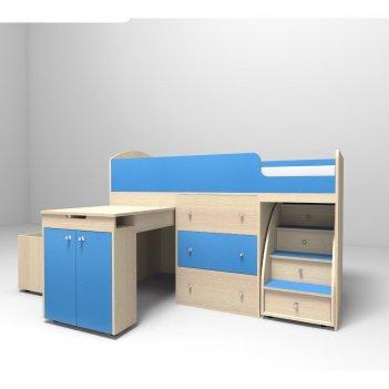 Кровать-чердак ярофф малыш 800x1800 дуб молочный голубой
