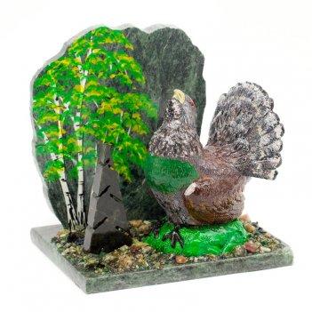 Сувенир глухарь в лесу змеевик