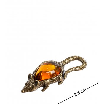 Am-1062 фигурка-кошельковая мышь (латунь, янтарь)