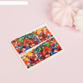 Слайдер-дизайн для ногтей «бабочки», с блёстками, разноцветный