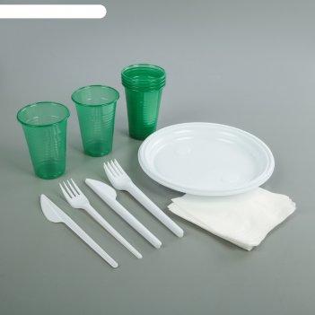 Набор одноразовой посуды пикничок, 30 предметов: 6 вилок, 6 ножей, 6 стака