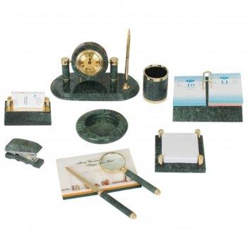 Набор настольный galant из мрамора, 9 предметов+часы, зеленый 231194