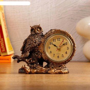 Часы настольные умный филин, 1 аа, дискретный ход,  14х6.5х11.5 см