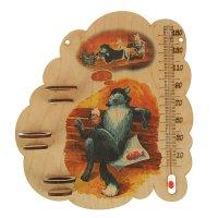 Деревянный термометр банный котик с полочкой для масел  и уф печатью,