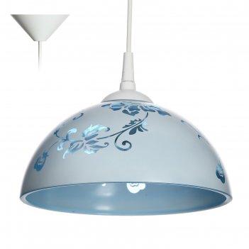 Светильник  колпак рочелл 1 лампа e27 40вт белый-синий  д.250
