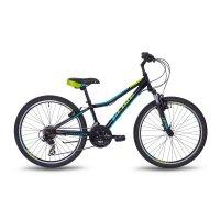 Велосипед 24 pride brave 21, 2018, цвет черный/голубой/лайм