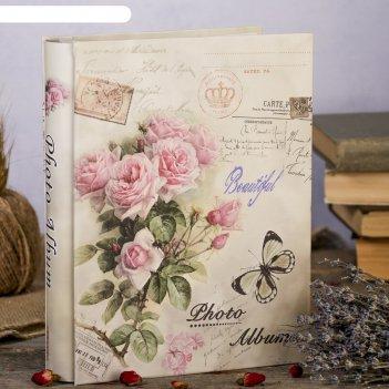 Фотоальбом на 100 фото 10х15 см букет пышных роз в коробке микс 26х20х5,5