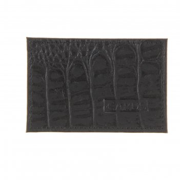 Визитница, натуральная кожа, с футляром для карточки, черный кайман
