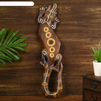 Панно настенное дерево геккон с цветочным узором 1x12x50 см