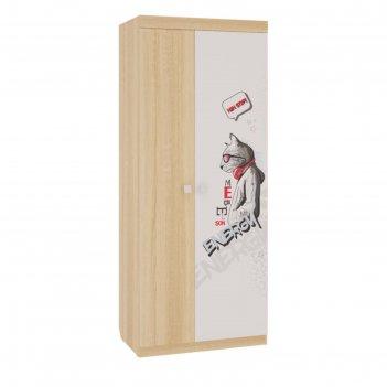 Шкаф 2-х створчатый энерджи, 900х580х2200, дуб сонома/белый