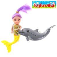 Кукла-малышка русалочка с дельфином, цвета микс